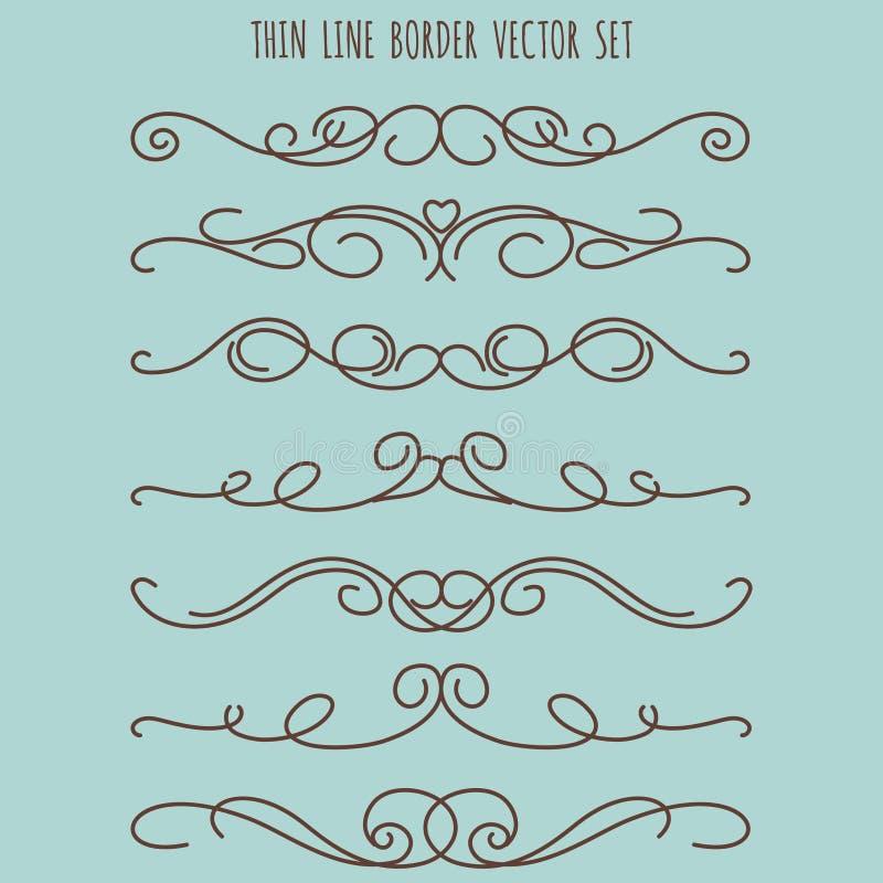 Tunn linje gränsuppsättning för tappning royaltyfri illustrationer