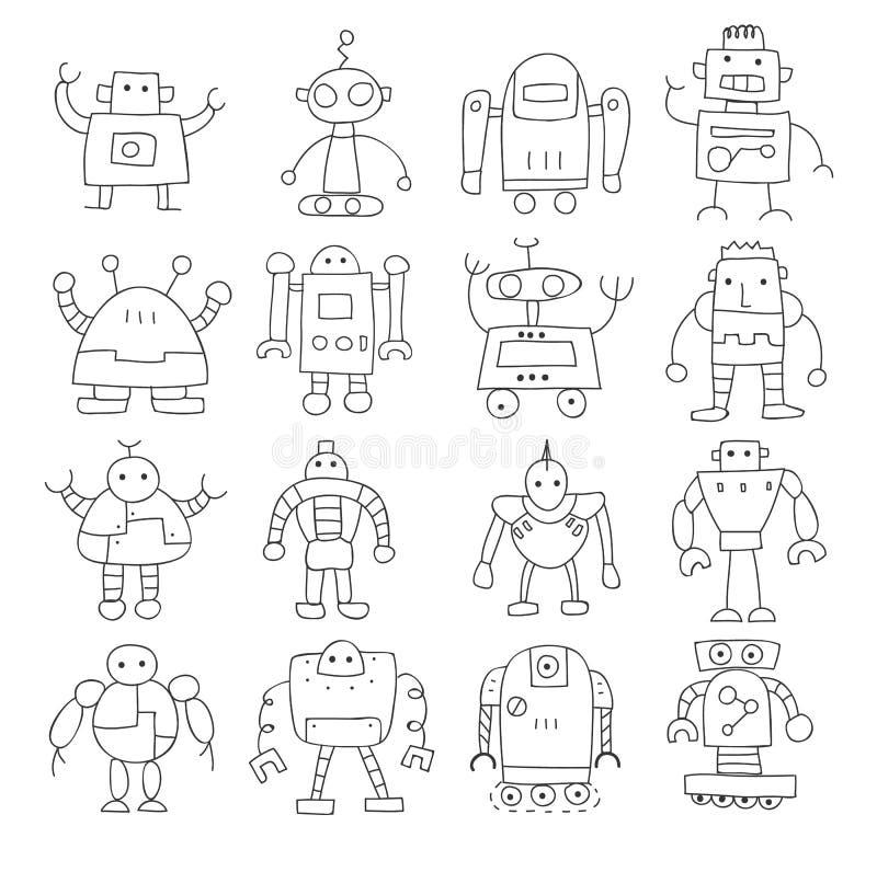 Tunn linje illus för symbol för konst för uppsättning för vektor för klotter för robot gullig hand dragen royaltyfri illustrationer