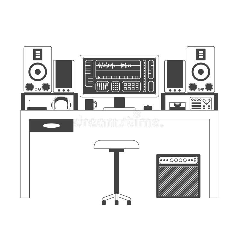 Tunn linje illustration för musikerworkspace vektor illustrationer