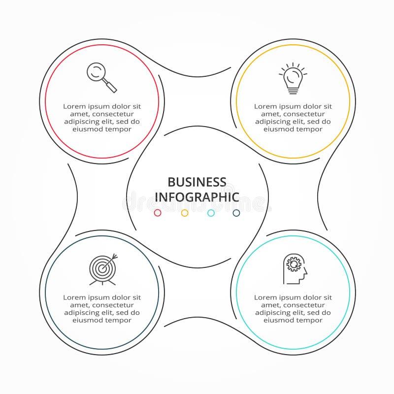 Tunn linje infographic cirkulering Modern mall för begreppsdesign med 4 alternativ, moment eller delar stock illustrationer