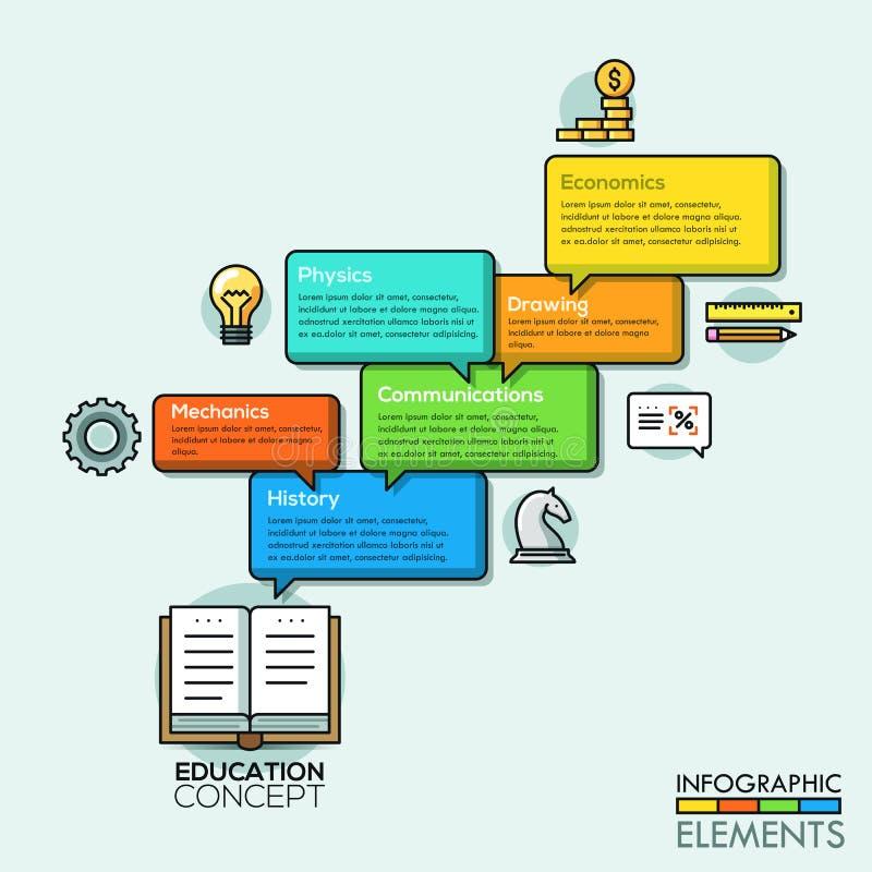 Tunn linje infographics för modernt affärsbubblaanförande stock illustrationer