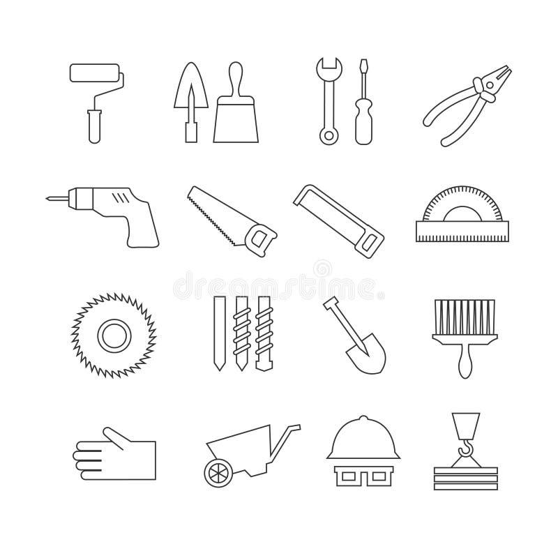 Tunn linje konstruktionshjälpmedel, symboler för hemreparationsvektor, verktygslådasymboler royaltyfri illustrationer