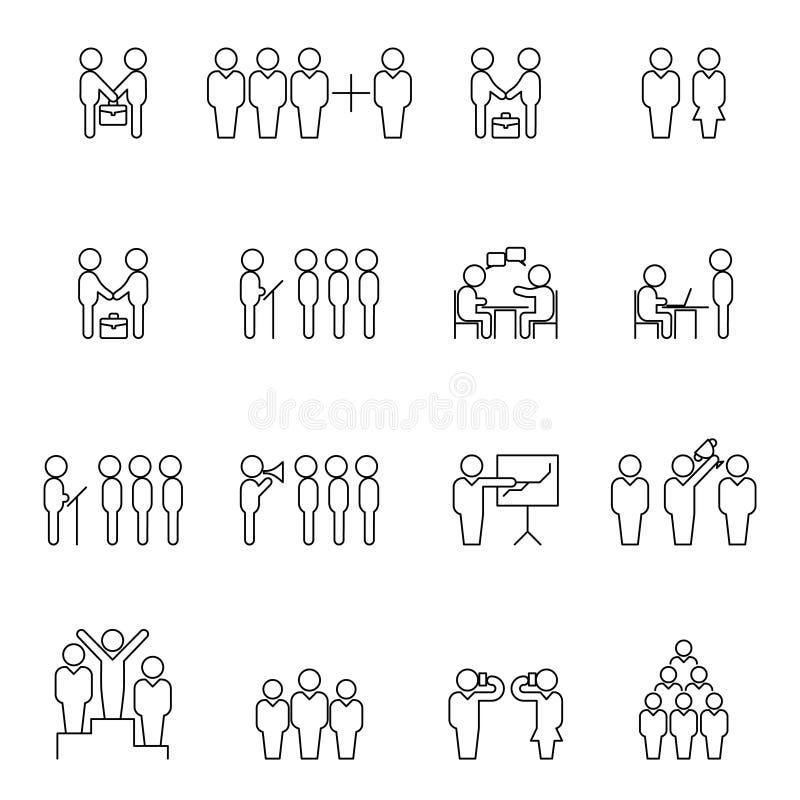 Tunn linje konturer för lag och för teamwork Symboler för översikt för affärsfolk stock illustrationer