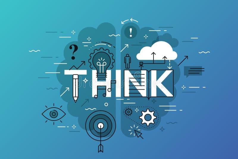 Tunn linje lägenhetdesignbaner för funderarewebbsida som lär, kunskap, innovation, kreativitet, lösningar vektor illustrationer