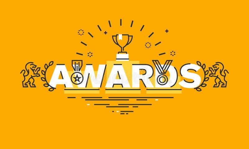 Tunn linje lägenhetdesignbaner för utmärkelsewebbsida royaltyfri illustrationer