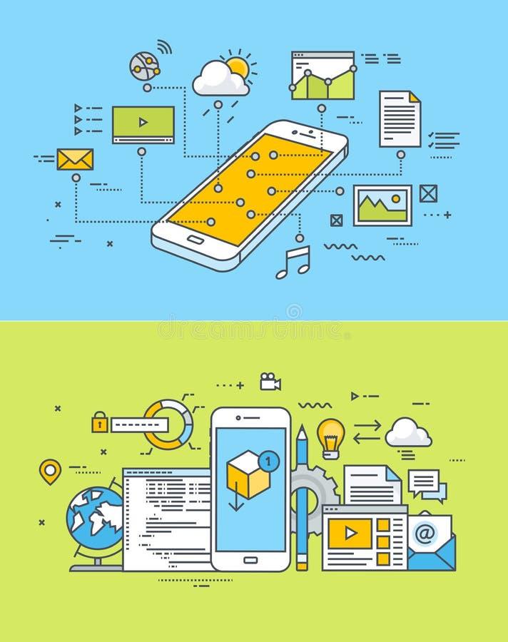 Tunn linje lägenhetdesignbegrepp av den mobila platsen och app-design och utveckling stock illustrationer