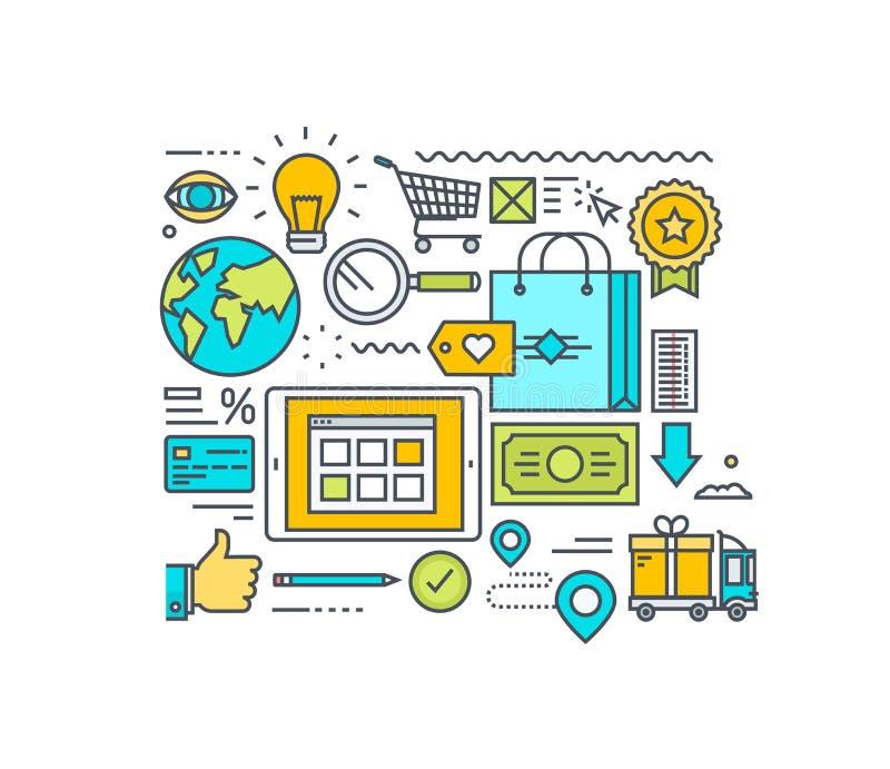 Tunn linje lägenhetdesignbegrepp av den online-shopping och e-komrets Begrepp för websitebaner och befordrings- material stock illustrationer