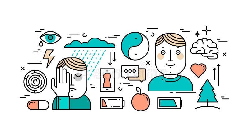 Tunn linje lägenhetdesignbegrepp av mentala hälsor, fördjupningen och a stock illustrationer