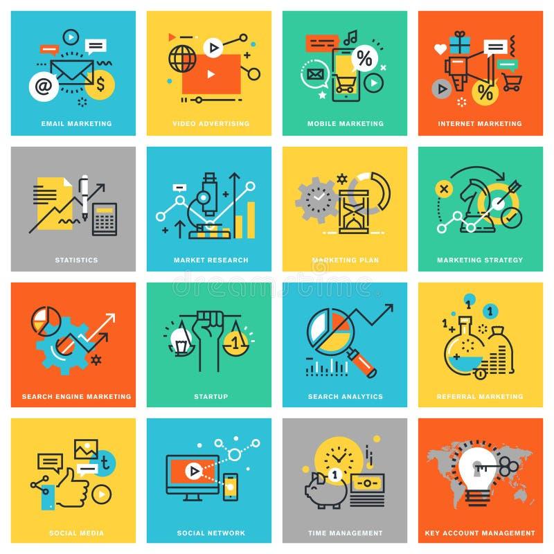 Tunn linje lägenhetdesignsymboler för digital marknadsföring royaltyfri illustrationer