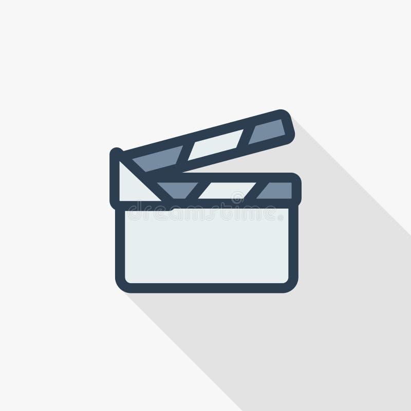 Tunn linje lägenhetfärgsymbol för filmclapperboard Linjärt vektorsymbol Färgrik lång skuggadesign stock illustrationer
