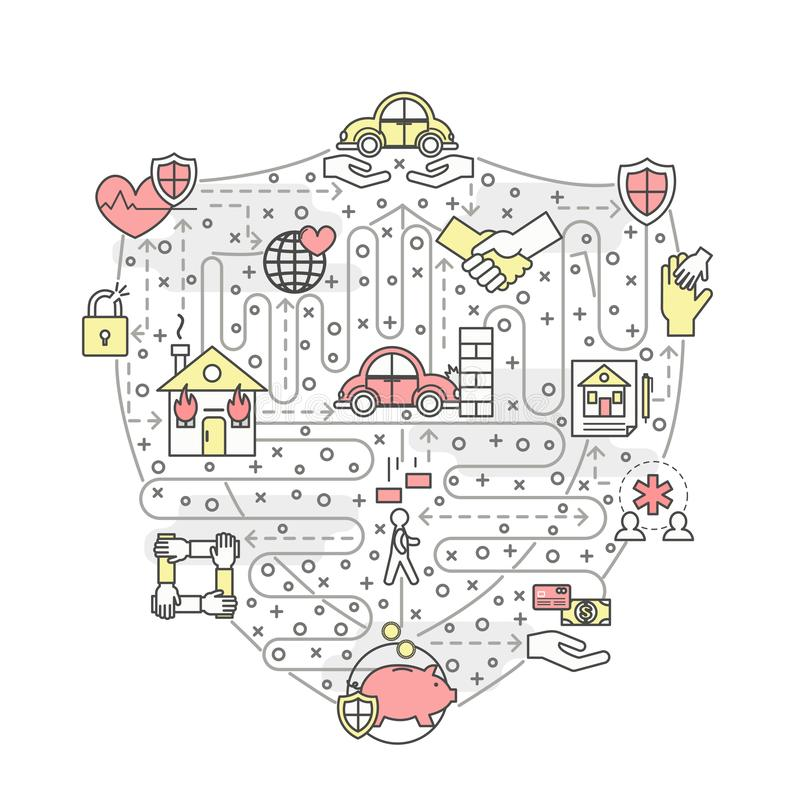 Tunn linje mall för vektor för försäkringaffischbaner royaltyfri illustrationer