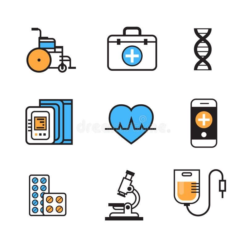 Tunn linje medicinutrustningtecken för medicinsk symbolsuppsättning på det vita bakgrundssjukhusvårdbegreppet stock illustrationer
