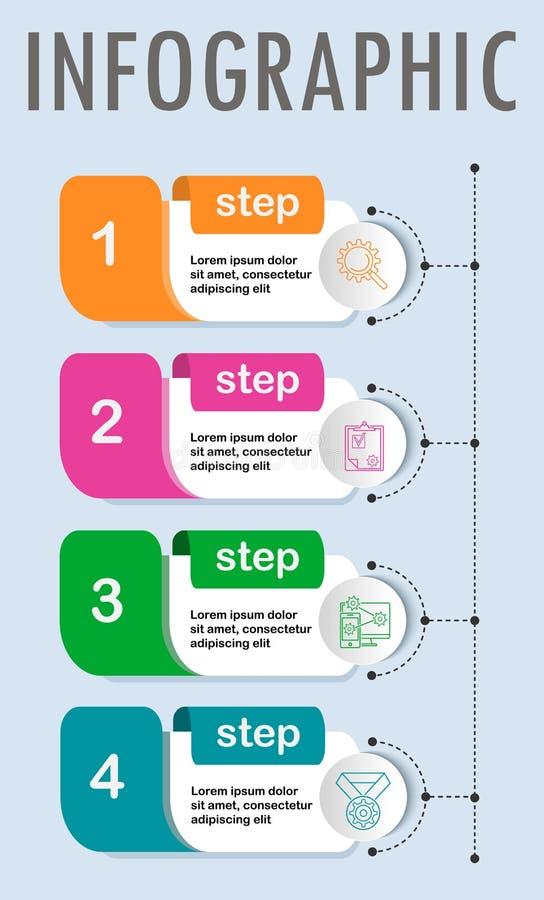 Tunn linje minsta Infographic designmall royaltyfri illustrationer