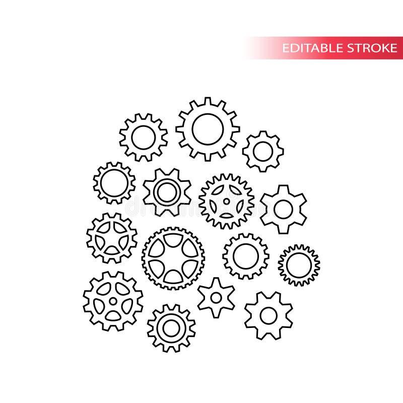 Tunn linje olik symbolsuppsättning för kugghjul vektor illustrationer