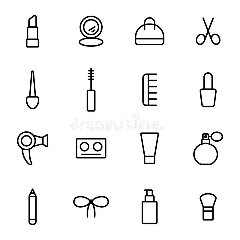 Tunn linje redigerbar sminksymbolsslaglängd vektor illustrationer