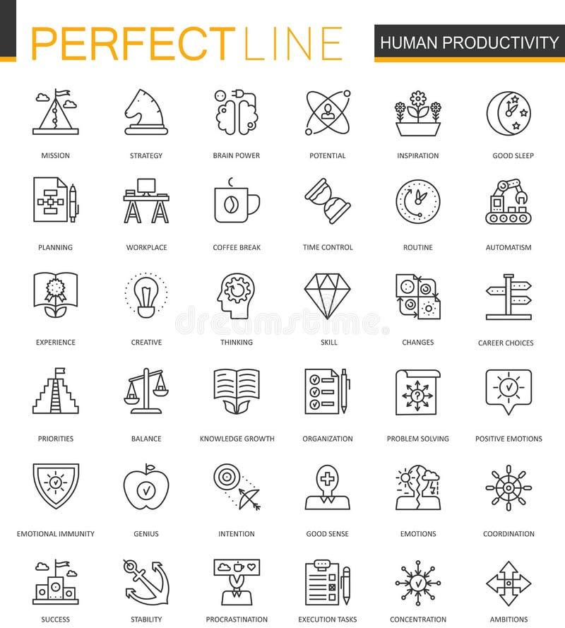 Tunn linje rengöringsduksymbolsuppsättning för mänsklig produktivitet Design för symboler för slaglängd för uppgiftskoncentration royaltyfri illustrationer