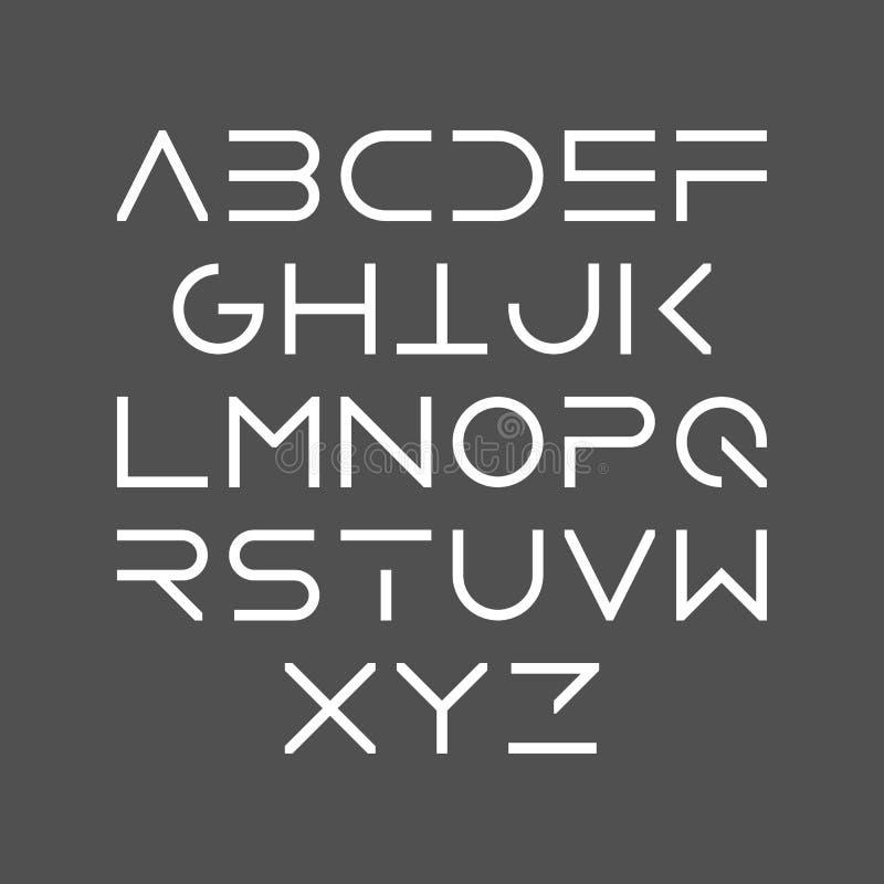 Tunn linje satt en klocka på uppercase modern stilsort för stil royaltyfri illustrationer