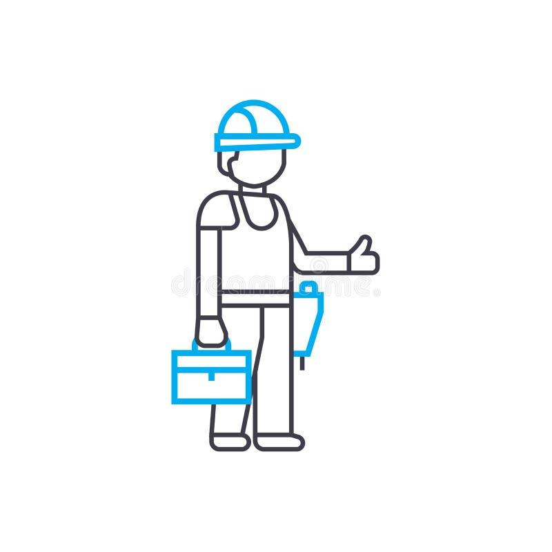 Tunn linje slaglängdsymbol för byggmästarevektor Byggmästareöversiktsillustration, linjärt tecken, symbolbegrepp royaltyfri illustrationer
