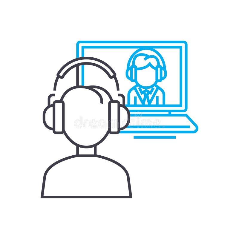 Tunn linje slaglängdsymbol för individuell online-coachningvektor Individuell online-coachningöversiktsillustration, linjärt teck vektor illustrationer