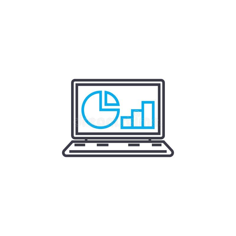Tunn linje slaglängdsymbol för online-rapportvektor Online-rapportöversiktsillustration, linjärt tecken, symbolbegrepp vektor illustrationer