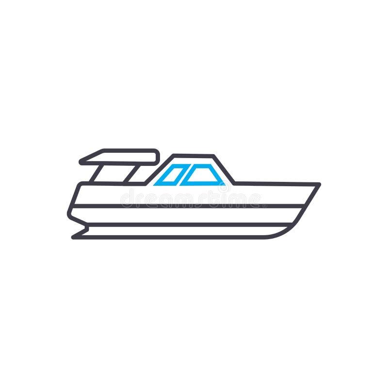 Tunn linje slaglängdsymbol för Powerboatvektor Powerboatöversiktsillustration, linjärt tecken, symbolbegrepp stock illustrationer