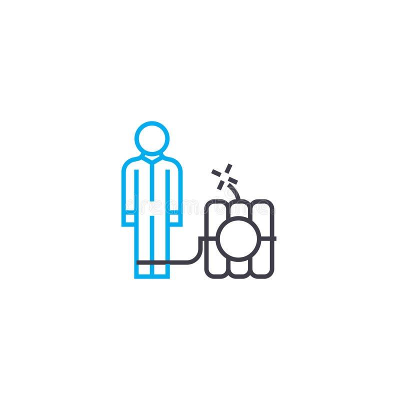Tunn linje slaglängdsymbol för riskabel affärsvektor Riskabel affärsöversiktsillustration, linjärt tecken, symbolbegrepp stock illustrationer