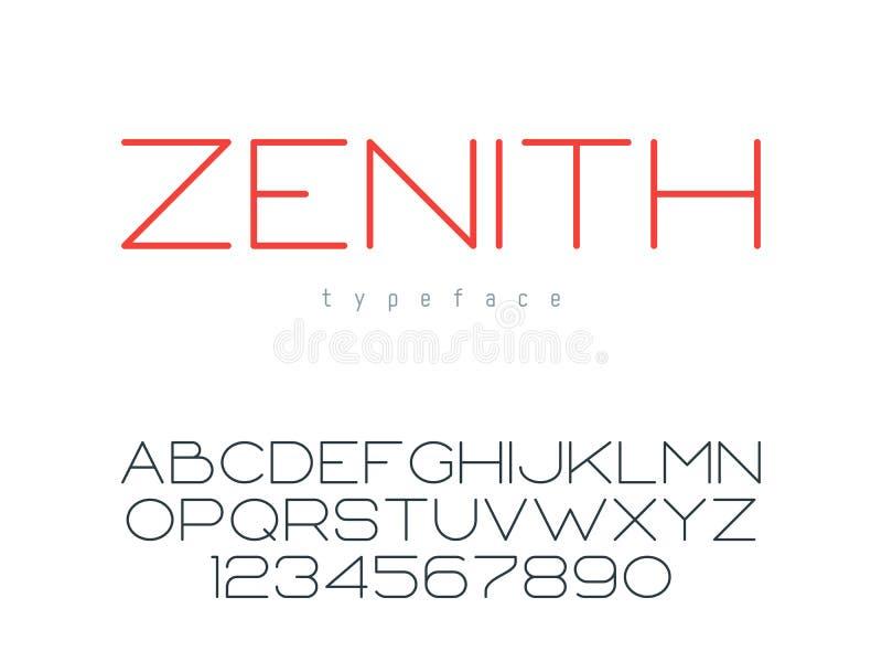 Tunn linje stora bokstavsstilsort för vektor Bokstäver och nummer för latinskt alfabet royaltyfri illustrationer