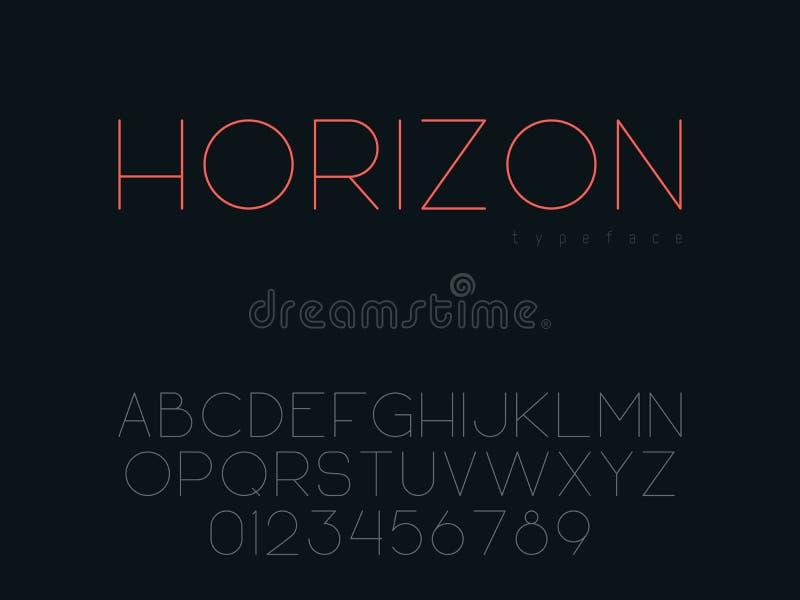 Tunn linje stora bokstavsstilsort för vektor Bokstäver och nummer för latinskt alfabet vektor illustrationer