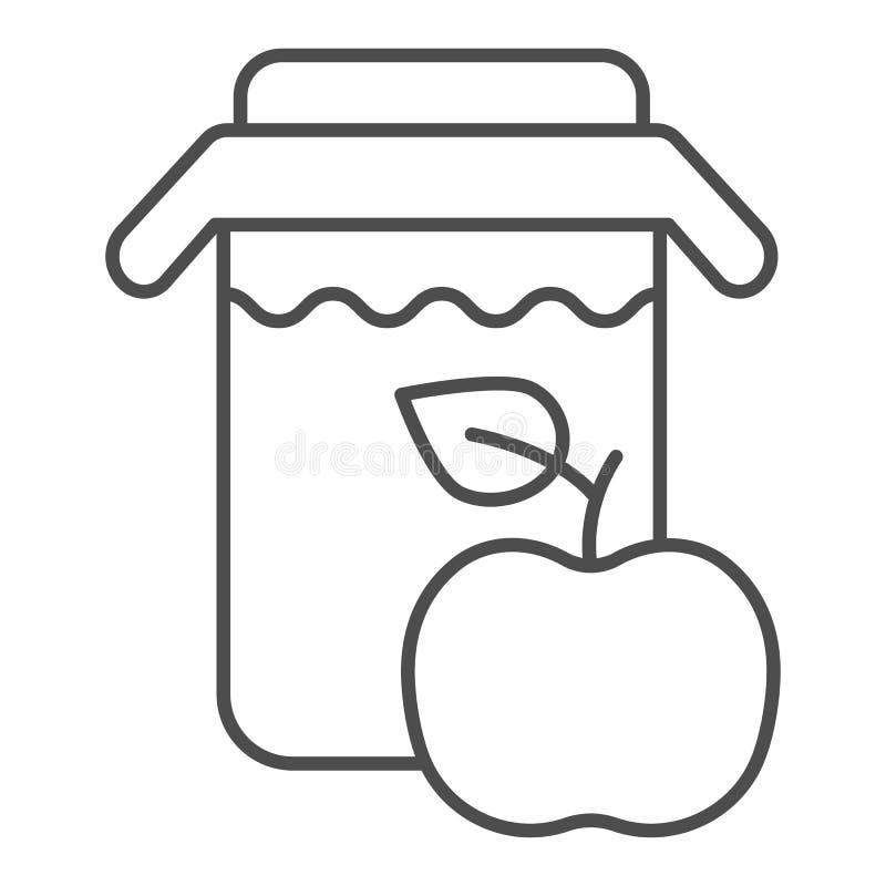 Tunn linje symbol för äppelmust Krus av äppelmustvektorillustrationen som isoleras på vit Ny design för drinköversiktsstil stock illustrationer