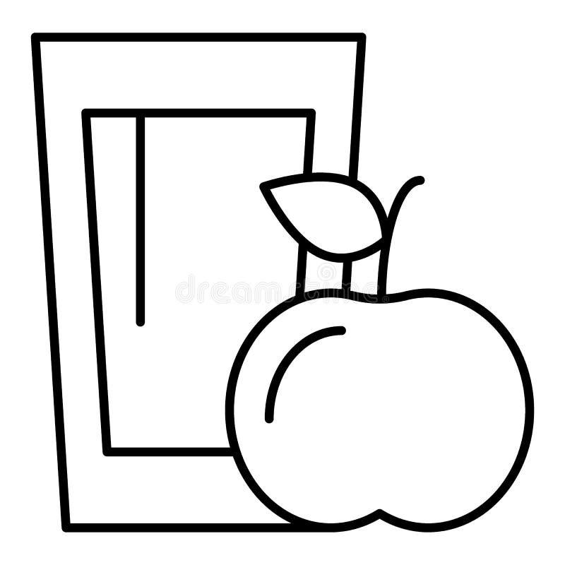 Tunn linje symbol för äppelmust och för äpple Illustration för vitamindrinkvektor som isoleras på vit Exponeringsglas av fruktsaf royaltyfri illustrationer