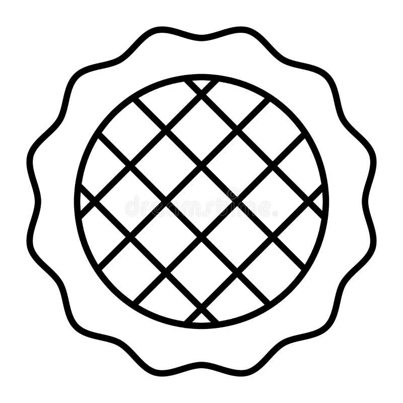 Tunn linje symbol för äppelpaj Efterrättvektorillustration som isoleras på vit Design för bakelseöversiktsstil som planläggs för  vektor illustrationer