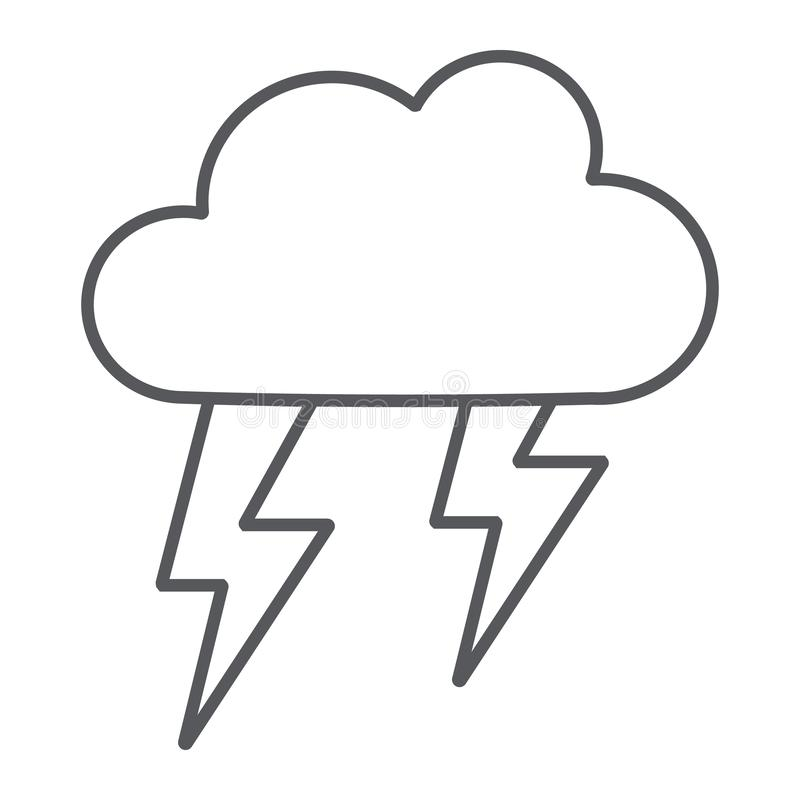 Tunn linje symbol för åskväder, väder och prognos, stormtecken, vektordiagram, en linjär modell på en vit bakgrund vektor illustrationer