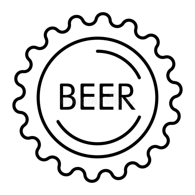 Tunn linje symbol för ölflaskalock Tillverka ölflaskalocket med illustrationen för inskriftölvektorn som isoleras på vit text stock illustrationer