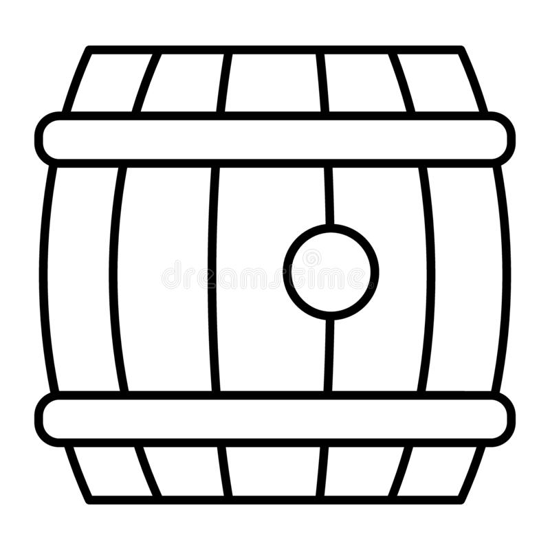 Tunn linje symbol för öltrumma Träillustration för ölfatvektor som isoleras på vit Trummarulle av ölöversiktsstil stock illustrationer