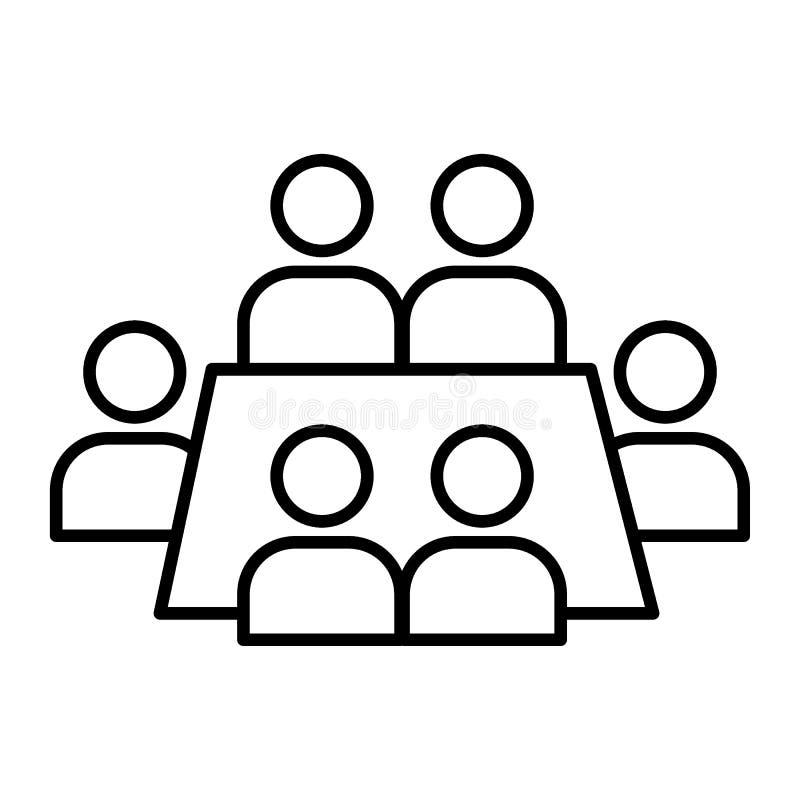 Tunn linje symbol för affärsmöte Konferensvektorillustration som isoleras på vit Design för seminariumöversiktsstil royaltyfri illustrationer