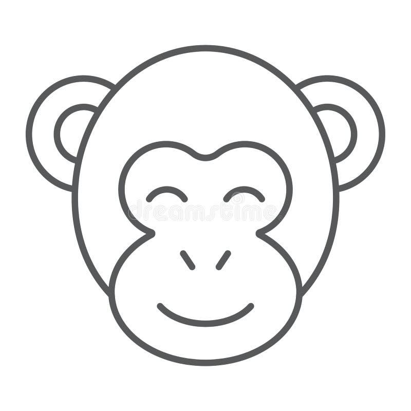 Tunn linje symbol för apa, zoo och africa, djurt tecken, vektordiagram, en linjär modell på en vit bakgrund stock illustrationer