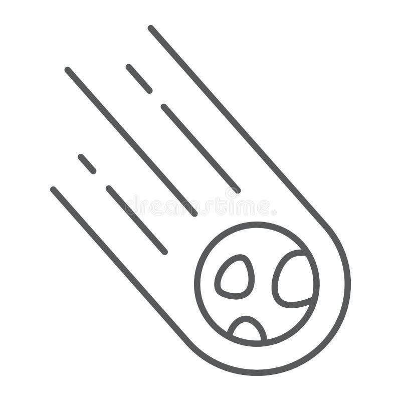 Tunn linje symbol för asteroid, utrymme och meteor, meteorittecken, vektordiagram, en linjär modell på en vit bakgrund stock illustrationer