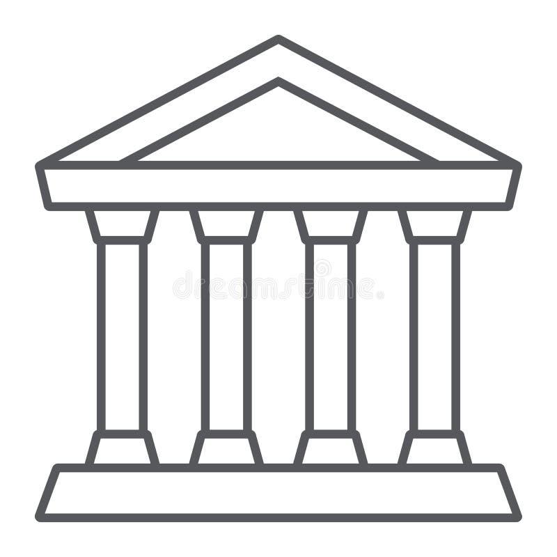 Tunn linje symbol för bank, byggnad och arkitektur, domstolsbyggnadtecken, vektordiagram, en linjär modell på en vit bakgrund royaltyfri illustrationer