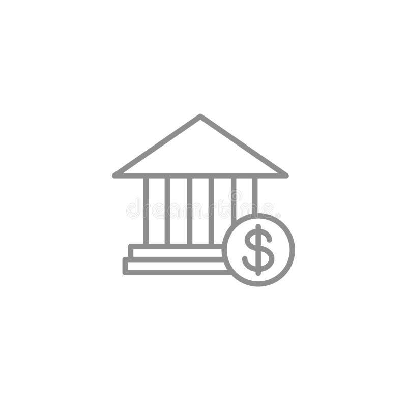 Tunn linje symbol för bank finansiell moderiktig stil och bankrörelsevektorillustration royaltyfri illustrationer