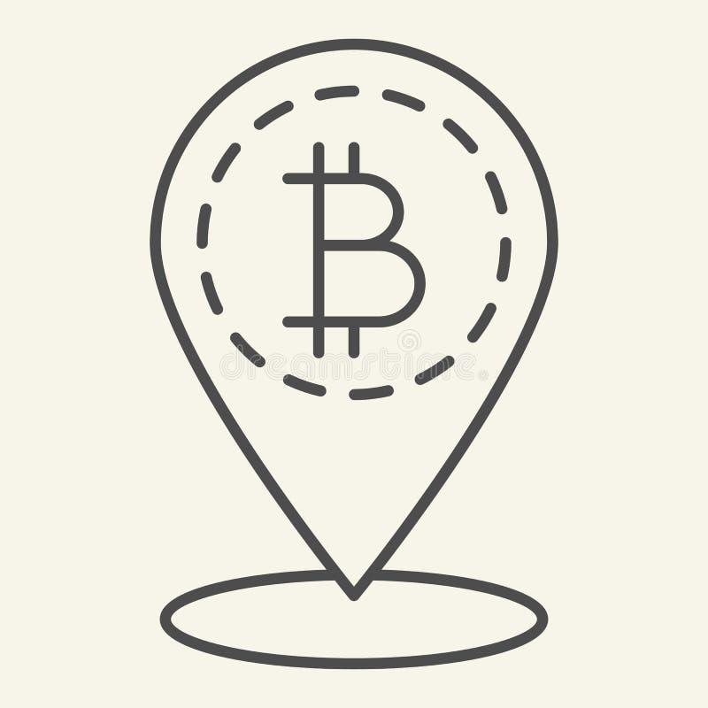 Tunn linje symbol för Bitcoin läge Bitcoin och illustration för översiktsstiftvektor som isoleras på vit Cryptocurrency översikts stock illustrationer