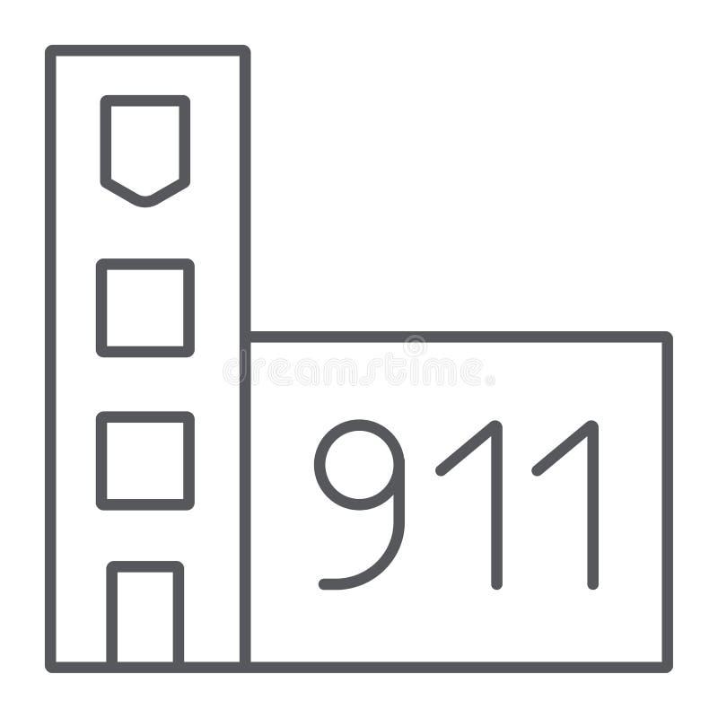 Tunn linje symbol för brandstation, byggnad och kontor, tecken för brandstation, vektordiagram, en linjär modell på ett vitt vektor illustrationer