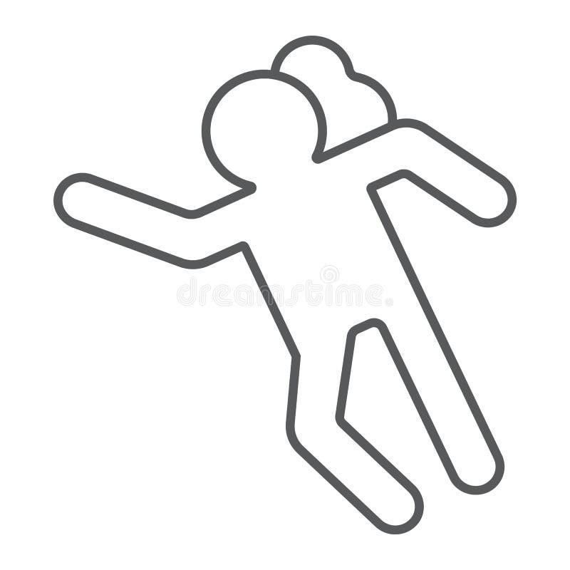 Tunn linje symbol för brottsplats, olycka och mord, offertecken, vektordiagram, en linjär modell på en vit bakgrund stock illustrationer