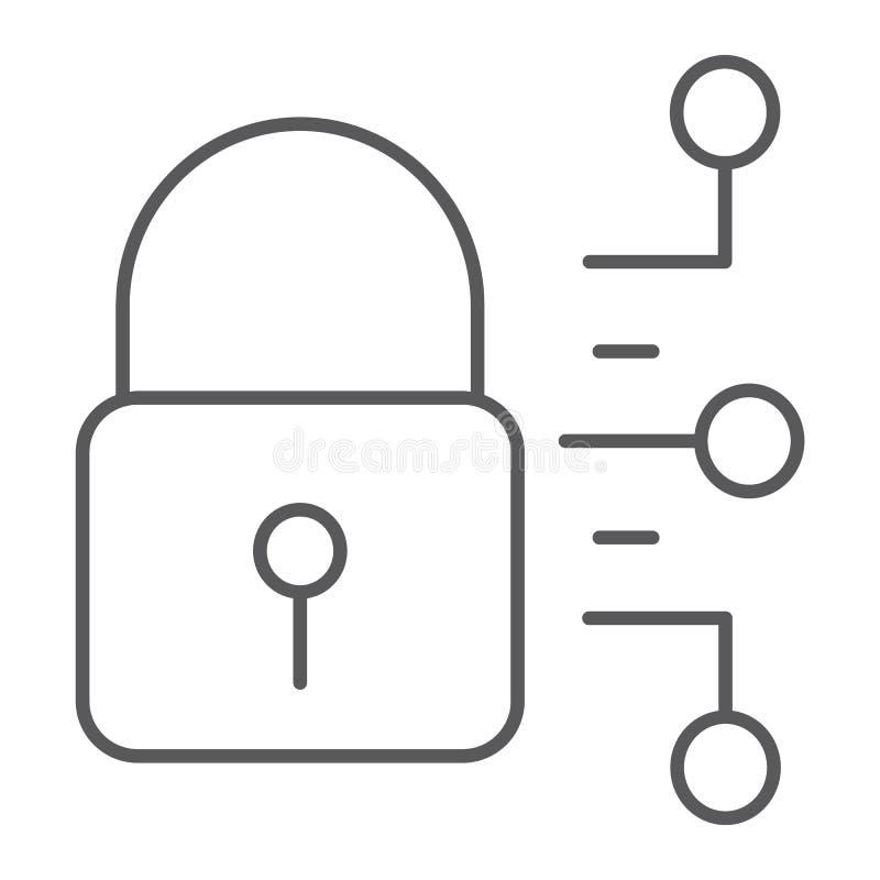 Tunn linje symbol för Cybersäkerhet, skydd och säkerhet, digitalt hänglåstecken, vektordiagram, en linjär modell vektor illustrationer