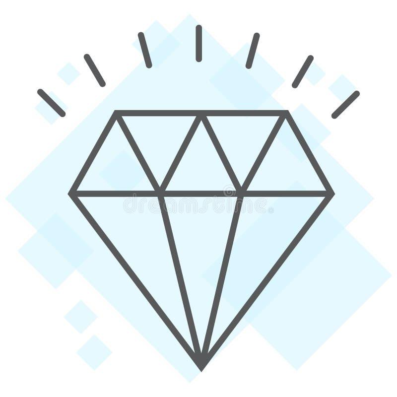 Tunn linje symbol för diamant, dyrt och lyxigt vektor illustrationer