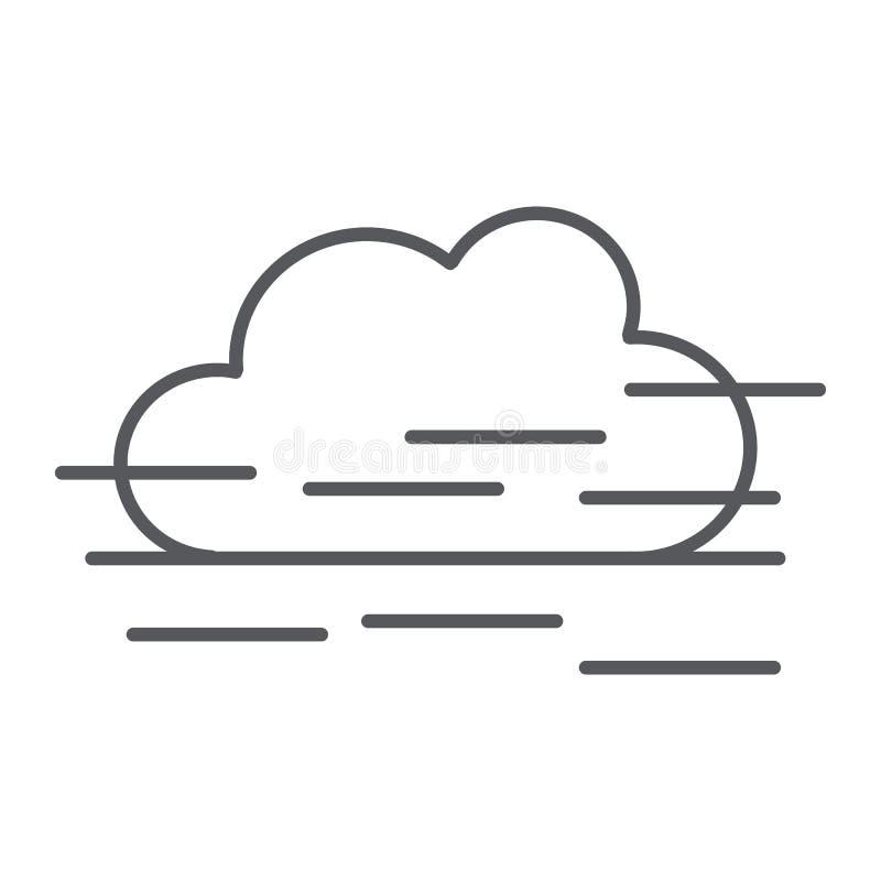 Tunn linje symbol för dimma, väder och prognos, fuktighetstecken, vektordiagram, en linjär modell på en vit bakgrund stock illustrationer