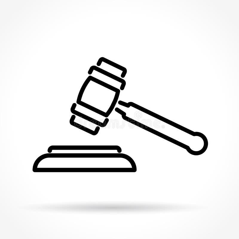 Tunn linje symbol för domstolsbyggnad stock illustrationer