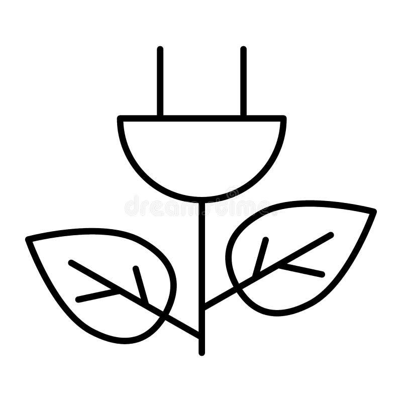 Tunn linje symbol för Eco maktpropp Illustration för energiräddningvektor som isoleras på vit Design för ekologiöversiktsstil som royaltyfri illustrationer