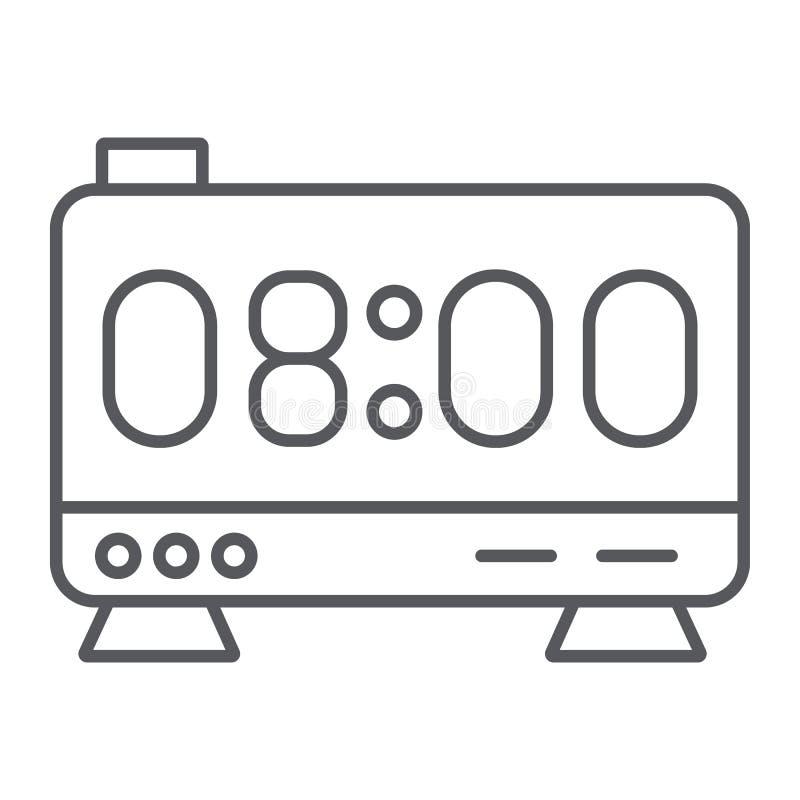 Tunn linje symbol för elektronisk ringklocka, digitalt och timme, klockaskärmtecken, vektordiagram, en linjär modell på a royaltyfri illustrationer