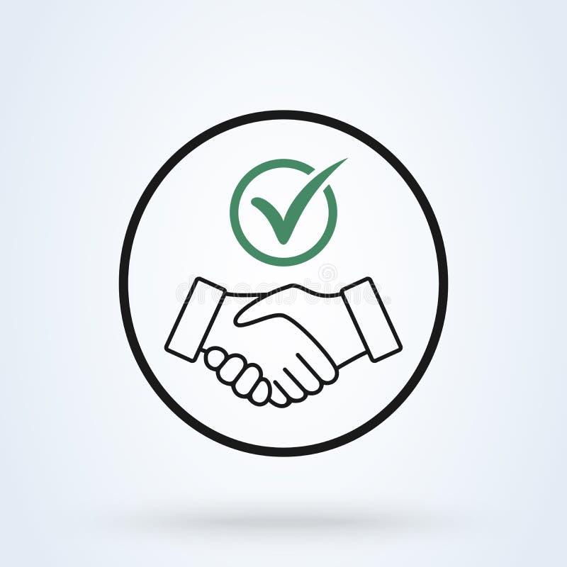 Tunn linje symbol för förpliktelse Handskakningsköldkontroll Mark Icon Vector Illustration för förtroendeförpliktelseaffär stock illustrationer