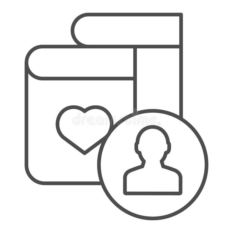 Tunn linje symbol för favorit- bokförfattare För bokvektor för bästa säljare som illustration isoleras på vit Populär boköversikt royaltyfri illustrationer